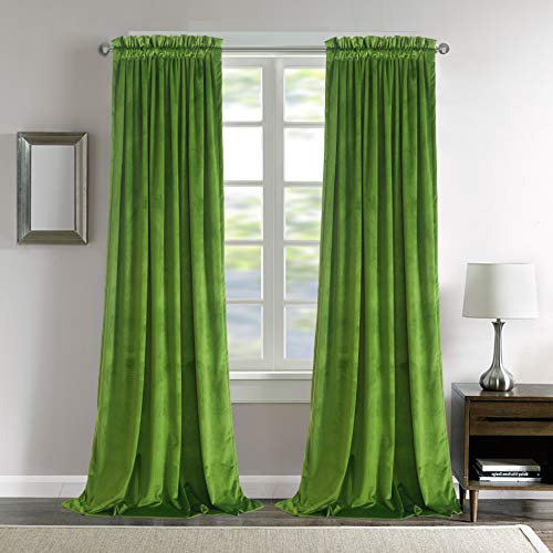 Roslynwood Living Room Velvet Curtains - Sound Reducing Heavy Matt Solid Rod Pocket Panels Drapes /52Wx84L Fresh Green, 2 Panels