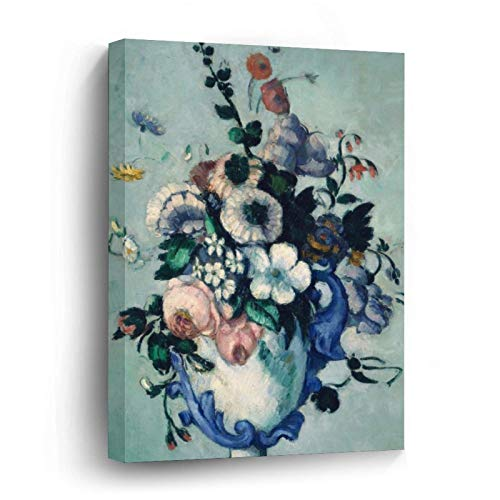 Camille Pissarro Flowers In A Rococo Vase Canvas Picture Painting Artwork Wall Art Poto Framed Canvas Prints for Bedroom Living Room Home Decoration, Ready to Hanging 12'x12'