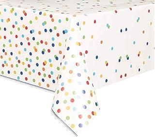 Rainbow Mini Polka Dot Plastic Tablecloth, 84