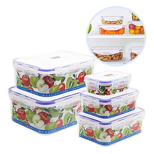 Nuobk Impilabile 5 Pezzi Contenitori per Alimenti,Contenitori Ermetico Alimentari Plastica con Coperchio Adatto per Lavastoviglie, Congelatore, Microonde