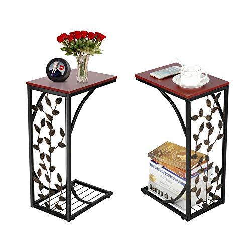Yaheetech Set di 2 Tavolini Laterale da Divano Basso da Soggiorno Tavolino Lato da caffè Moderno Comodino Camera da Letto in Legno e Metallo Marrone e Nero