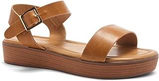 Herstyle Carli Women's Open Toe Ankle Strap Platform Low Wedge Sandals