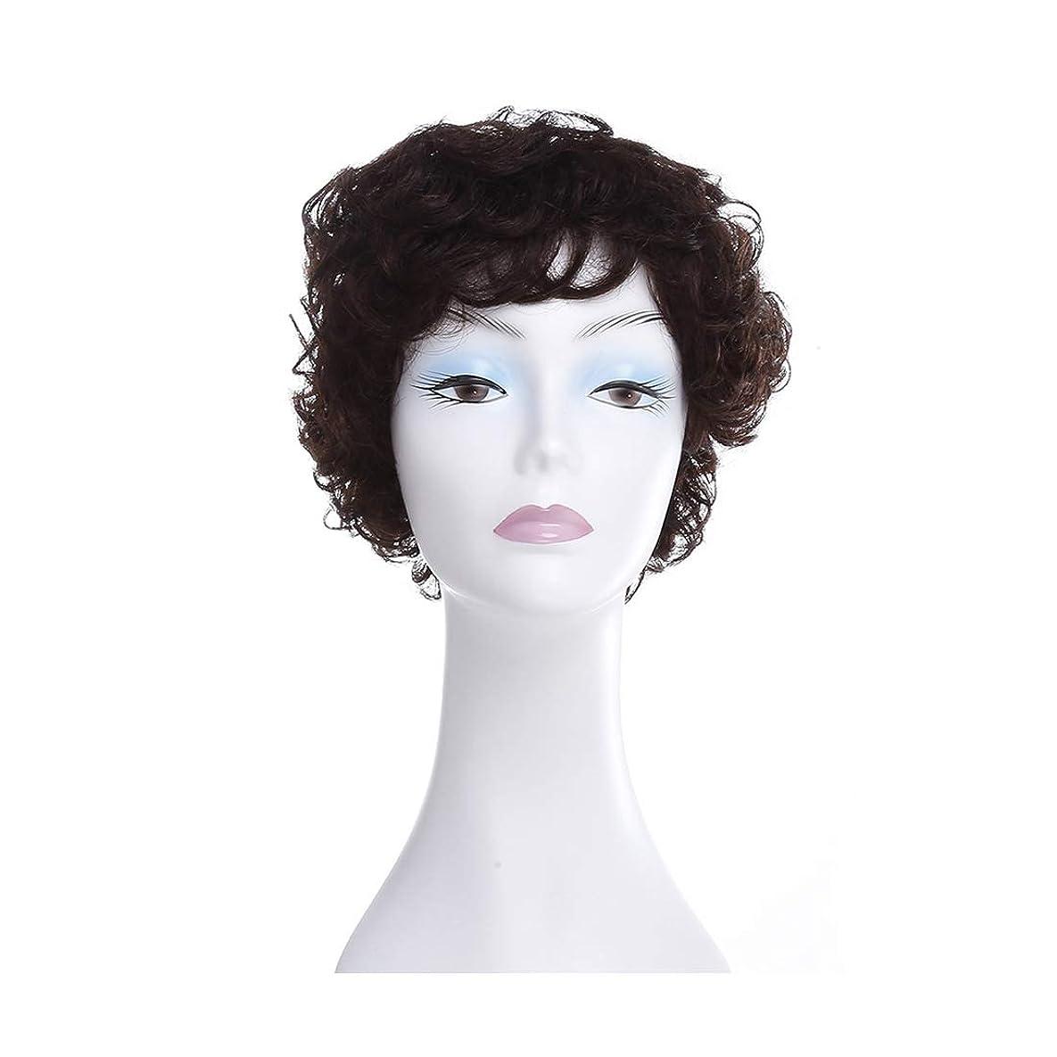 歯科のエリート応用Koloeplf 中高年の老人の女性の髪型フル帽子ふわふわの短い髪のかつら (Color : Natural black)