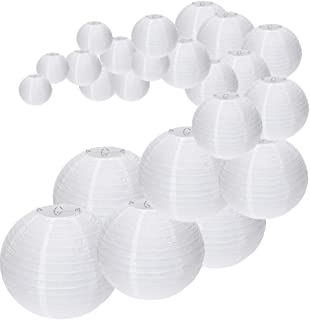 UNIQOOO 24 Pcs White Paper Lantern Set,5 Size Mix,Reusable Hanging Decorative Japanese Chinese Paper Lanterns Lamps,Easy Assembly,for Birthday Wedding Baby Shower Christmas Party Decor Supplies Kit