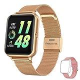 hopofit smartwatch donna, orologio fitness activity tracker ip67 impermeabile con cardiofrequenzimetro da polso contapassi cronometro 1,4 pollici orologio sportivo smart watch per android ios (oro)