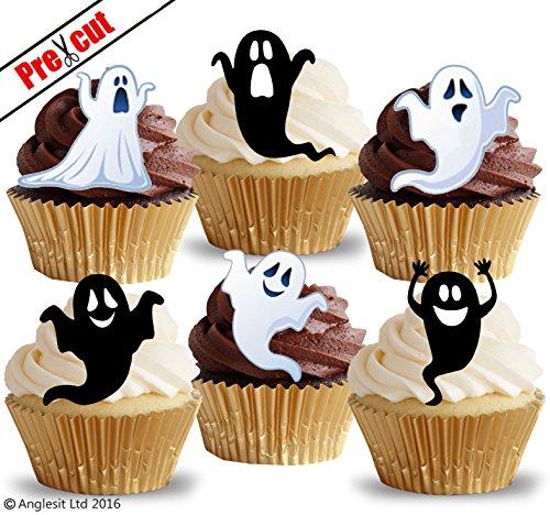 Lustige Geister - Vorgeschnittenes, essbares Reispapier (Kuchen und Cupcake Verzierung, Halloween Party Dekoration).