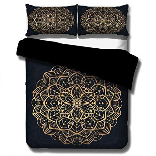 993 Boho Bedding set Mandala Black Golden Purple Blue Red Duvet Cover Pillowcase India Bohemia Exotic National Style Quilt Cover With Zipper (Mandala 3, Super king 230x260 cm)