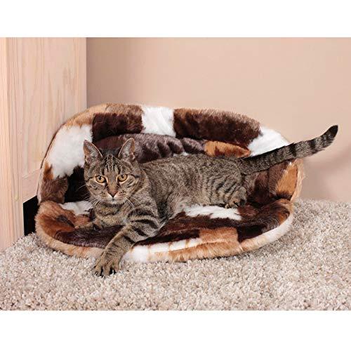CLEVERCAT Teddy Sofaliege Patchwork braun. Der kuschelige Schlafplatz für Ihren Stubentiger