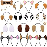 CiyvoLyeen 15 PCS Puppy Dogs Ear Headbands for Pet Birthday Party Favors Adults Costumes Dress-up Photo Booth Props Party Supplies
