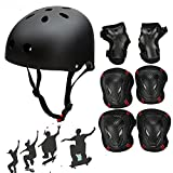 Besmall Adjustable Skateboard Skate Helmet with Protective Gear Knee Pads Elbow Pads Wrist Pads for Youth Outdoor Sports, BMX, Skateboard, Bike, Roller, Kid's Protective Gear Set Black L