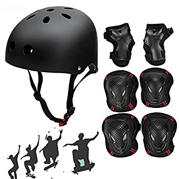 Besmall Adjustable Skateboard Skate Helmet with Protective Gear Knee Pads Elbow Pads Wrist Pads for Adult Outdoor Sports BMX Skateboard Bike Roller Kid s Protective Gear Set Black L