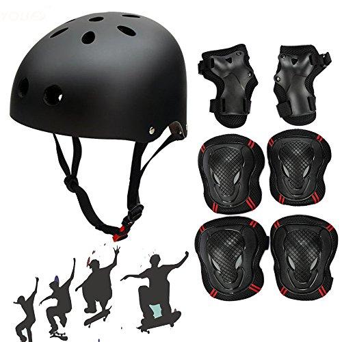 Fahrradhelm Skate Protektoren Set mit Helm Knie Pads Ellbogen mit Handgelenkschoner Schonerset für Skate Skateboard Roller Sport BMX Radfahren,für Kopf M (52-57 cm) Schwarz