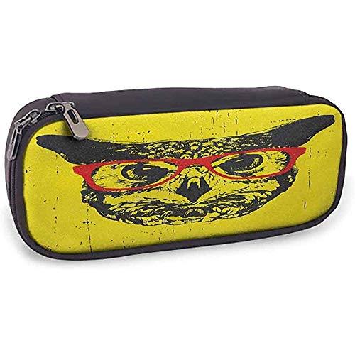 Druckbleistift-Taschen-moderne Speicher-Briefpapier-Eule mit Glas-Porträt-Hippie-nächtlicher Tierschmutz-Spaß-Grafik Dark Grey Yellow Red