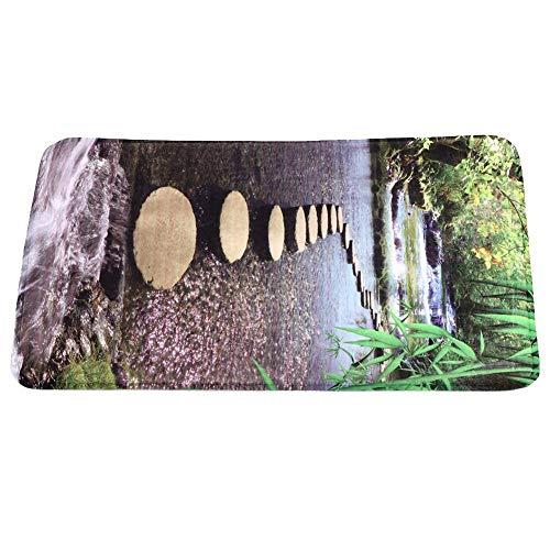 Ymiko Mehrere Spezifikationen rutschfeste Fußmatte Bodenteppich Haushalt Badezimmer Natürliches Muster Rechteckige Bodenmatte Teppich Teppichmatte für die Inneneinrichtung(60 * 180)