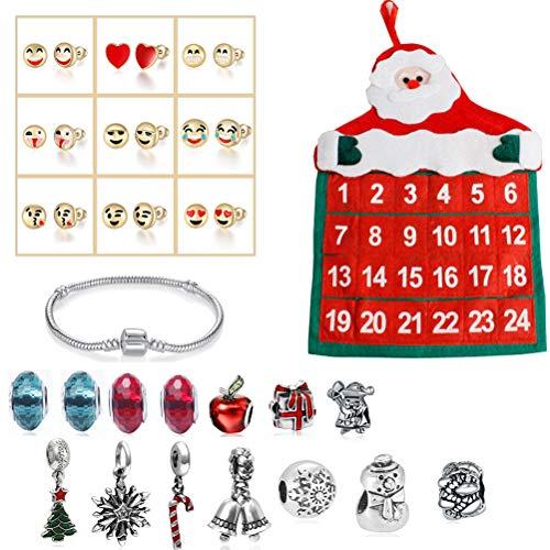 Adventskalender Kinder DIY Armband Halskette Set Weinachtskalender Schmuck Armband Halskette Weihnachten Geschenk für Damen Mädchen mit 24 Armbandzubehör