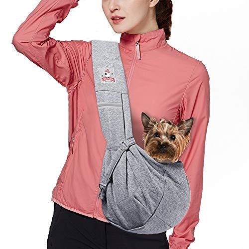 MRELEC Small Cat Pet-Dog-Carrier-Sling-Backpack Front Pack Purse Puppy Shoulder Bag Snuggle Dog Travel Pouch Outdoor Riding Tote for Men Girl (Adjustable Grey)
