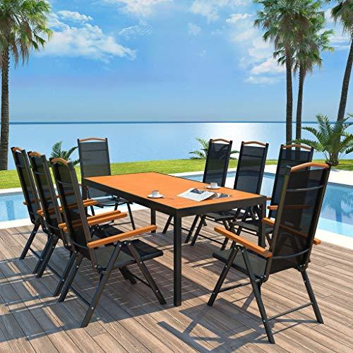 Tidyard 5 7 9-teiliges Gartenmöbel-Set – Gartengarnitur Sitzgruppe Sitzgarnitur aus Gartenstühlen & Esstisch WPC-Tischplatte – Aluminium Schwarz und Braun