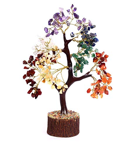 Crocon Seven Chakra Natural Healing Gemstone Crystal Bonsai Fortune Money Tree for Good Luck, Wealth & Prosperity-Home Office Decor Spiritual Gift (with Golden Wire and 300 Beads) Size 10-12 Inches