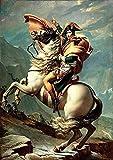 misspfeas Jacques Louis David: Napoleon Crossing The Alps Impresión en HD, Carteles artísticos de Pared, Pintura en Lienzo, Cuadros de Sala de Estar, decoración del hogar, 50x75 cm sin Marco