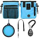 STMK Dog Training Kit, Dog Treat Pouch, Puppy Training Treat Pouch, Dog Collapsible Bowl, Dog Whistle, Dog Clicker, Ideal for Dog Walking, Dog Training, Puppy Training (Blue)
