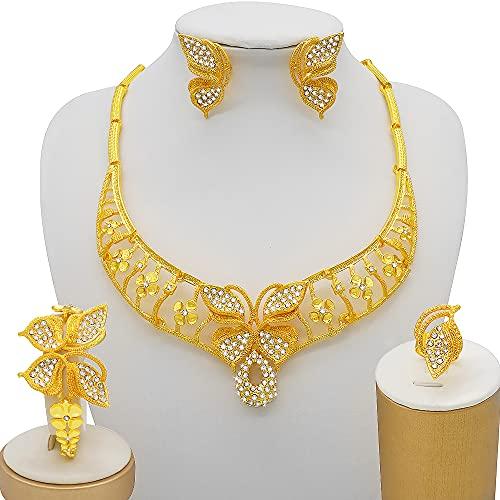 QXZ-WOLFBERRY Mujeres Bonitas Joyas de Boda Lucky trébol Collar Pendientes Pulsera Anillo Dubai Damas joyería Fiesta (Metal Color : BJ864)