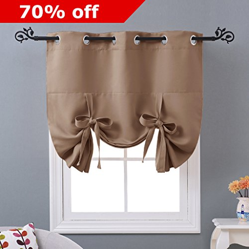 NICETOWN Thermal Insulated Balloon Curtain - Tie Up Shade Panel for Small Window (Grommet Top, 46