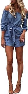 Women Cold Shoulder Fashion High Waist Skirt Casual 3/4 Long Short Sleeve Summer Mini Dress with Belt