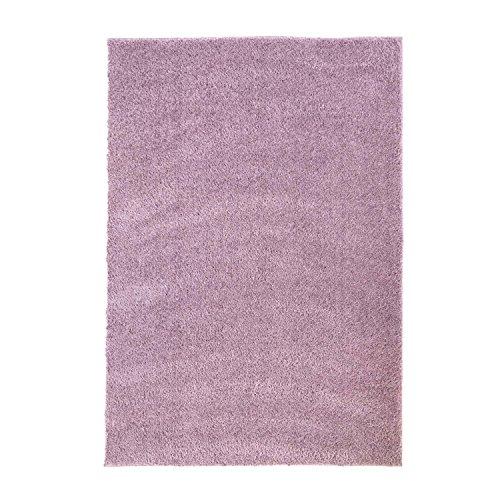 MyShop24h Teppich Wohnzimmer Pastel Lila Hochflor Shaggy 140x200cm Oeko-Tex Standard 100% Micro-Polyester Einfarbig Allergiker geeignet
