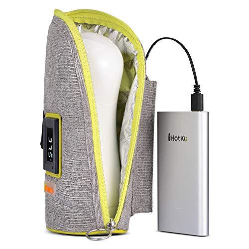 FNBABY USB-Flaschenwärmer Tragbare USB-Babyflaschenwärmer-Auto-Flaschenwärmer mit digitaler Touch-Anzeige, geeignet für USB, Ladeschatz, Auto-Netzteil, 2 Modi, Reisgrau