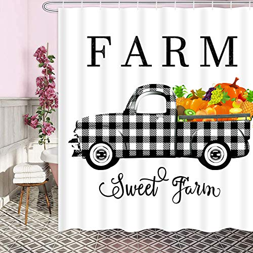 Ikfashoni Fall Shower Curtain Farm Sweet Farm Shower Curtain...