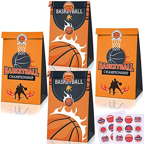 20 Pack Basketball Party Supplies, Candy Favor Bags with Stickers Basketball Goodie Gift Treat Bags for Basketball Themed Birthday Party Decoration