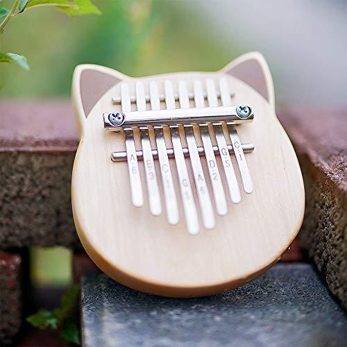 Vvave 8 Key Cat Kalimba Birke Echt Thumb Pianissimo Musikinstrument mit Lernbuch Tune Hammer (Burlywood) Jianmeiliao