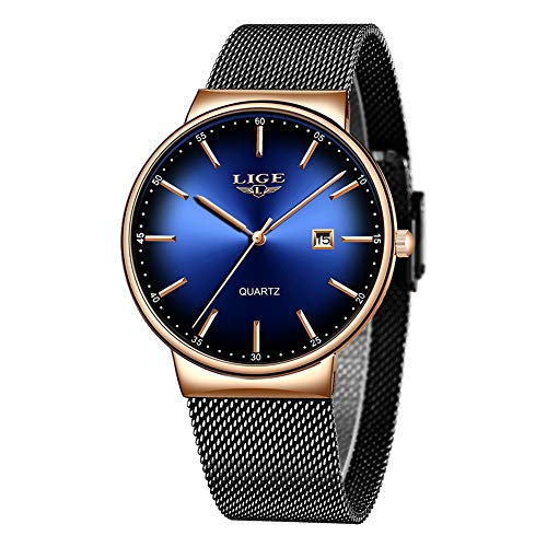 LIGE Uhr-Herren,Mode Chronographen,Edelstahl Wasserdich, Schwarze Quartz Milanaise Mesh Armband… (Golden)