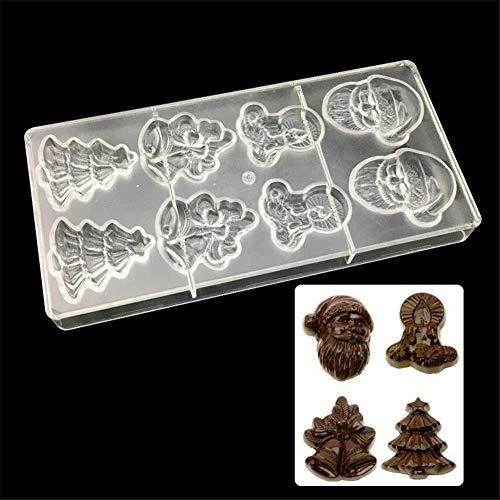 stampo in policarbonato per cioccolato, a forma di Babbo Natale, albero di Natale, teglia con stampi per dolci e cioccolatini, dimensioni 14,5 x 28 x 2,5 cm 8 Cells