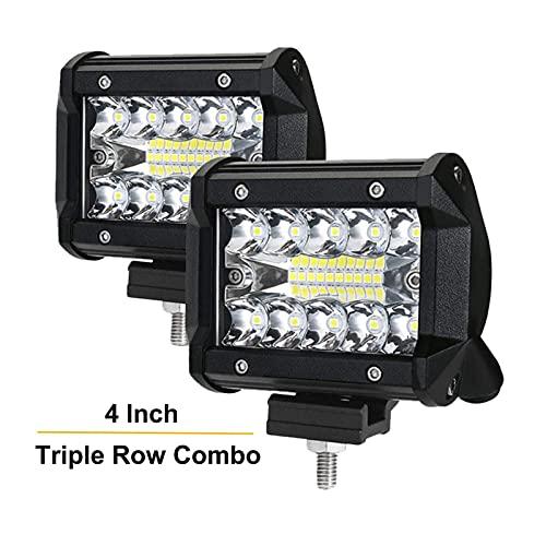 Kit de bombillas LED para coche 2 unids 4 pulgadas 3 filas LED LED Luz de luz Barra de inundación Combo 12V 24V Camión de coche 4WD Offroad Lámpara de conducción Faro Linterna ATV UTV Camión de barcos