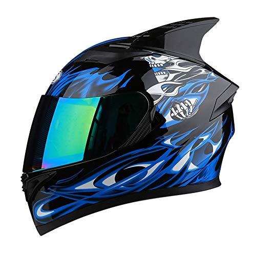 L.L.QYL Motorradhelm Motorrad Integralhelm Bunte Linse Doppellinsen Persönlichkeit Atmungsaktive Ecke Reithelm Vier Jahreszeiten Motocross-Helm (Size : XXL)