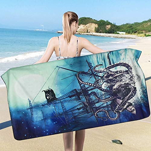 Toalla de playa Octopus, Toalla de playa Ocean Kraken, Tentáculos Octopus Nautical Sailboat Wave Toalla de playa, Pirate Under Moon Starry Sky Beach, Absorbente, Oversize, Playa, Piscina, Natación