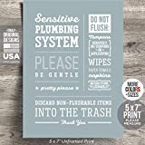 """5x7"""" *UNFRAMED PRINT* Do not Flush Bathroom Sign Septic System Sensitive Plumbing No Feminine Sanitary Products Tampons Paper Towels Tissues Wipes Decor Art Hotel Restaurant airbnb Bags"""