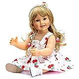 55cm Reborn Babypuppen Silikon Vinyl Ganzkörper Baden Mädchen, 22 Zoll Blondes Haar Prinzessin Puppen Mädchen, Lebensechte Kleinkindpuppen Entzückendes Geschenk Spielzeug