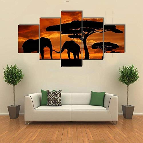 5 Piece Wall Art Painting Silhouette of Two Elephants in The Sunset Pictures Prints On Canvas The Picture Decor for Home Modern Decoration for Kids Room Creative Gift Ready to Hang