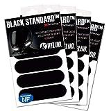 VFLUO Black Standard™, (Paquete de 4) Kit de 4 Pegatinas Retro Reflectantes para Casco de Moto, Visibilidad de Noche, 3M Technology™, Negro