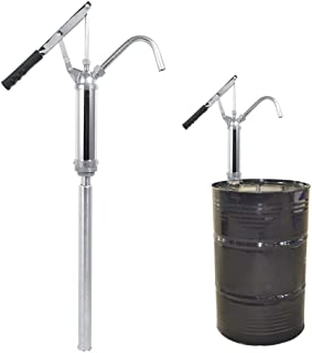 WUPYI Hand Crank Oil Gas Barrel Drum Pump,Hand Drum Barrel Pump Self-Priming Oil Pump 55 Gallons with Adjustable Bung Adpater and 3 Suction Pipes