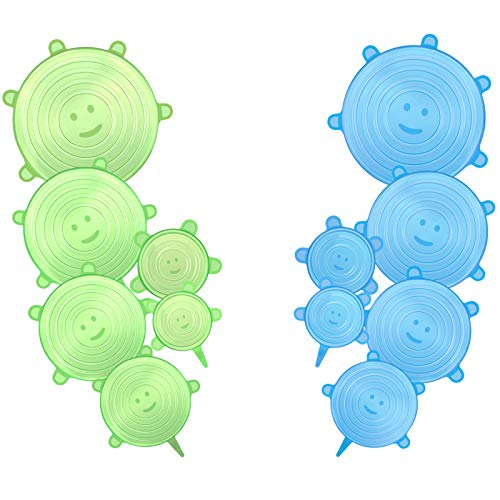 CISHANJIA Coperchi in Silicone Estensibile, 12 Coperchio in Silicone Senza BPA e Riutilizzabili, Ideali per Diversi Contenitori, Piatti, Ciotole, Sicuri in Microonde e Congelatore(12)