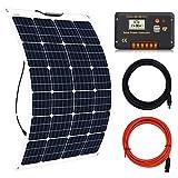 ECO-WORTHY Sistema completo de 130 W: panel solar de 130 vatios + pantalla LCD de 20 A PWM controlador de carga + adaptador de cable solar