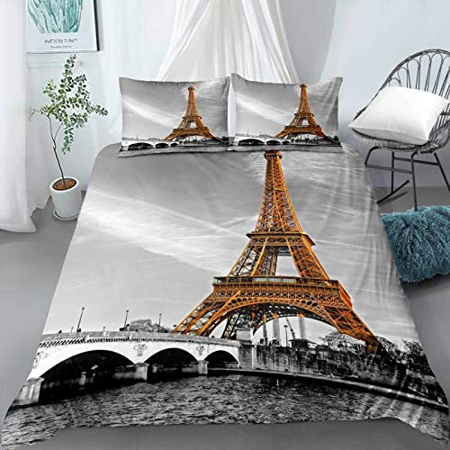 QXbecky British Retro Style 3D Digital Printing Bedding Quilt Cover and Pillowcase 3-Piece Set
