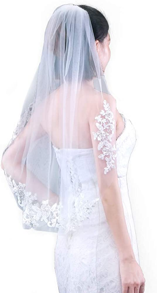 ZHENM Bridal Veil,1 Tier Exquisite Appliques Cut Edge Wedding Veil Inlaid with Comb