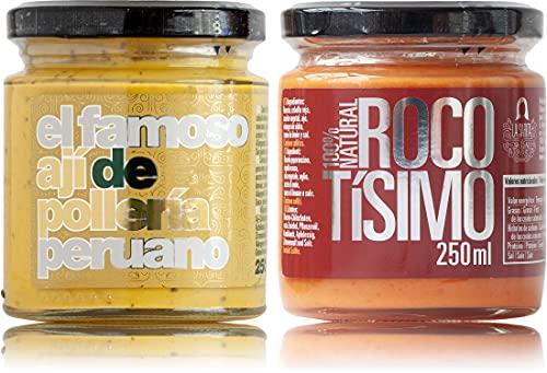 Ají amarillo con huacatay —salsa piccante per pollo arrosto— e Rocotísimo, crema di rocoto   Pacchetto risparmio   Puro Perú   100% naturale   Senza additivi, conservanti e glutine   Vegani