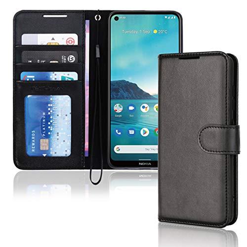 TECHGEAR Leder Hülle Nokia 3.4 - PU Leder Flip Hülle Schutzhülle Ledertasche [Brieftasche] Handyhülle mit Ständer & Handschlaufe Beutel kompatibel mit Nokia 3.4 - Schwarz
