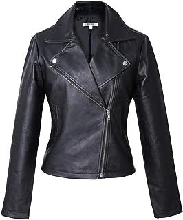 Vero Viva Womens PU Faux Leather Long Sleeve Moto Biker Jacket Coat with Pockets