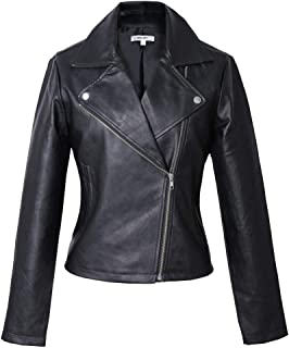 Vero Viva Womens PU Faux Leather Long Sleeve Moto Biker Jacket Coat with Pockets